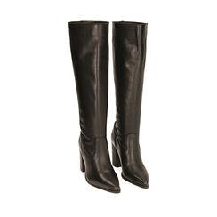 Stivali neri in pelle, tacco 9 cm , Primadonna, 18L601651PENERO035, 002a