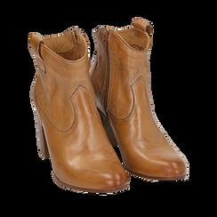 Botines en piel color cuero, tacón 7,50 cm, 157725926PECUOI035, 002a