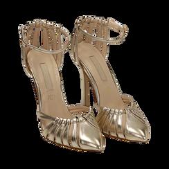 Décolleté laminado con tira color oro, tacón 11 cm , Zapatos, 152168657LMOROG037, 002 preview