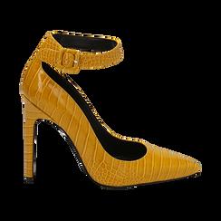 Décolleté gialle in eco-pelle effetto coccodrillo, tacco 11 cm , Scarpe, 142182061CCGIAL036, 001 preview