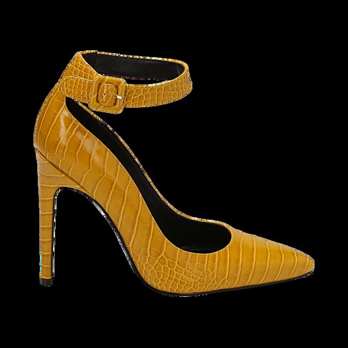 Décolleté gialle in eco-pelle effetto coccodrillo, tacco 11 cm , Scarpe, 142182061CCGIAL036