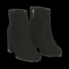Ankle boots neri in microfibra, tacco 7,5 cm , Stivaletti, 142762715MFNERO035, 002a