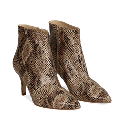 Ankle boots beige in eco-pelle effetto snake skin, tacco 8 cm, Scarpe, 13A407520PTBEIG035, 002a