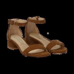 Sandali marroni in microfibra, tacco cilindrico 3,50 cm,