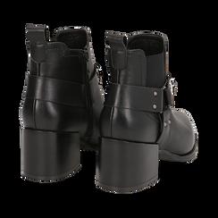 Camperos neri in eco-pelle con borchie, tacco 6,5 cm , Stivaletti, 143020502EPNERO036, 004 preview