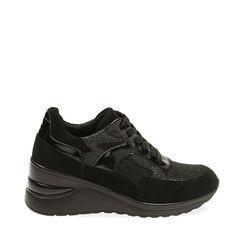 Sneakers nere in tessuto, zeppa 6 cm , Primadonna, 182819404TSNERO035, 001a
