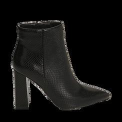 Ankle boots neri in eco-pelle stampa pitone, tacco 9,5 cm , Primadonna, 142186672PTNERO035, 001a