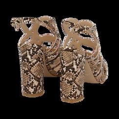 Sandali cage beige stampa pitone, tacco 10,5 cm, Primadonna, 152760843PTBEIG036, 004 preview