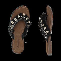 Ciabatte infradito nere in raso con conchiglie, Scarpe, 15K808336RSNERO, 003 preview