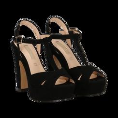 Sandali con plateau neri in microfibra, tacco 13 cm, Scarpe, 138404162MFNERO035, 002