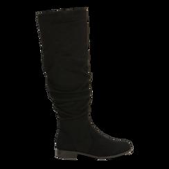 Stivali neri flat con gambale morbido, tacco 2,5 cm, Scarpe, 122705486MFNERO, 001 preview