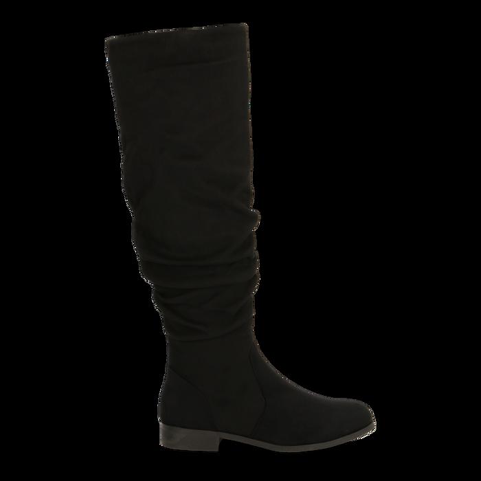 Stivali neri flat con gambale morbido, tacco 2,5 cm, Scarpe, 122705486MFNERO