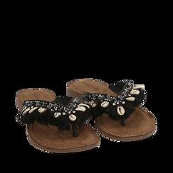 Ciabatte infradito nere in raso con conchiglie, Chaussures, 15K808336RSNERO035, 002a