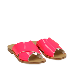 Mules flat fucsia in vernice fluo, Primadonna, 136767002VEFUCS035, 002a