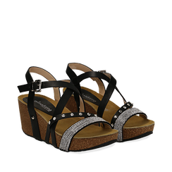 Sandali neri in eco-pelle con strass, zeppa in sughero 6 cm , Primadonna, 117646314EPNERO035, 002a