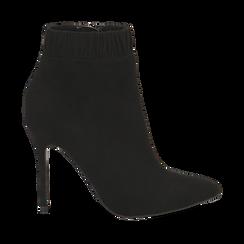 Ankle boots neri in microfibra, tacco 10 cm , Stivaletti, 142146863MFNERO035, 001a