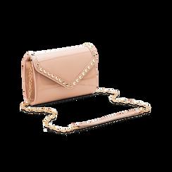 Borsa a tracolla rosa nude in ecopelle vernice, Saldi, 123386501VENUDEUNI, 003 preview
