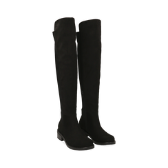 Stivali overknee neri in microfibra, tacco 4 cm , Primadonna, 163025001MFNERO036, 002 preview
