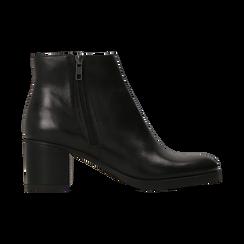 Tronchetti neri in vera pelle con tacco 5 cm, Primadonna, 127714166PENERO035, 001 preview