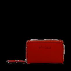 Portafoglio compatto rosso in eco-pelle, Borse, 133731344EPROSSUNI, 001a