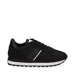 Sneakers nere in tessuto tecnico , Scarpe, 142619079TSNERO035, 001a