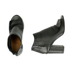 Tronchetti open toe neri in pelle, tacco 9 cm , Primadonna, 17A517014PENERO037, 003 preview