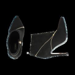 Ankle boots neri con zip, tacco 10,50 cm , Stivaletti, 142150061MFNERO035, 003 preview