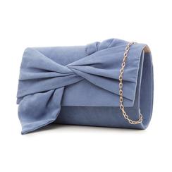Pochette azzurra in microfibra con fiocco, Borse, 132300508MFAZZUUNI, 004 preview