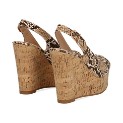 Sandali platform beige in eco-pelle, effetto snake skin, zeppa in sughero 12 cm , Primadonna, 134900982PTBEIG, 004 preview
