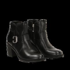 Bottines noires en simili-cuir avec une boucle, talon de 6,50 cm , Primadonna, 150682987EPNERO036, 002a
