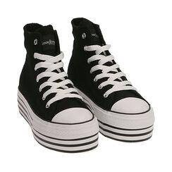 Sneakers negras de lona, Primadonna, 172642103CANERO035, 002a