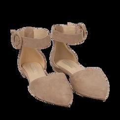 Ballerines beige en microfibre, Chaussures, 154841142MFBEIG035, 002a