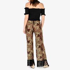 Pantaloni leopard con frange, Vêtements, 150400012TSLEOP3XL, 002a