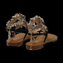 Sandali gioiello flat neri in eco-pelle, Primadonna, 134988245EPNERO036, 004 preview
