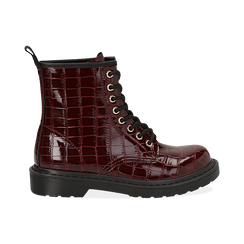 Anfibi bordeaux in eco-pelle, effetto coccodrillo, Stivaletti, 142801501CCBORD036, 001 preview