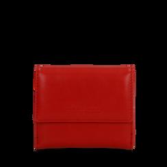 Portafoglio compatto rosso in ecopelle con 6 vani, Saldi, 122200895EPROSSUNI, 001a