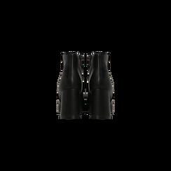 Tronchetti neri, tacco 7,5 cm, Scarpe, 122182021EPNERO040, 003 preview