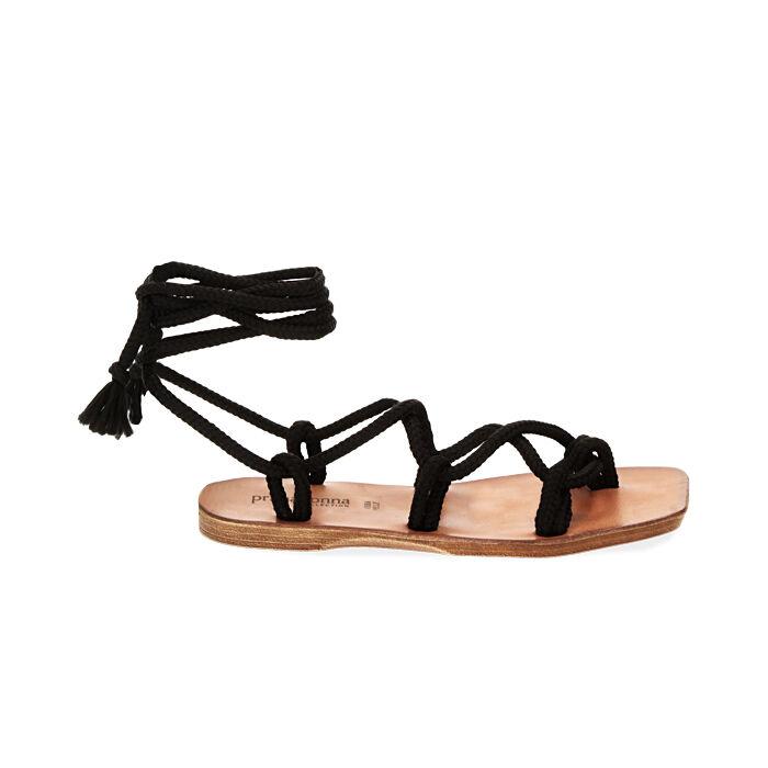 Sandales en tissu noir, Primadonna, 17A131482TSNERO035