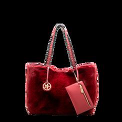 Borsa shopper bordeaux in eco-pelliccia con pochette e portamonete, Saldi, 125702076FUBORDUNI, 001a