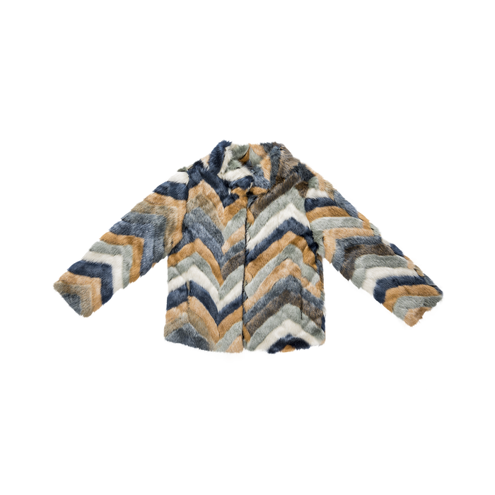 huge discount add64 6f802 Pelliccia blu multicolore corta eco-fur, manica lunga