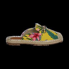 Mules espadrillas gialle in tessuto jungle, Primadonna, 134905188TSGIAL036, 001 preview
