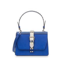 Borsa media blu in eco-pelle con borchie, Borse, 131992421EPBLUEUNI, 001a