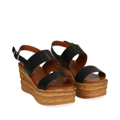 Sandali platform neri in eco-pelle, zeppa 8 cm , Primadonna, 13A133255EPNERO036, 002a