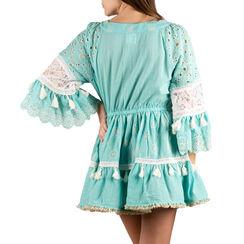 Caftan en tissu turquoise, Primadonna, 150500119TSTURCUNI, 002a