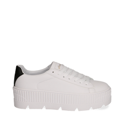 Sneakers platform bianco/nere in eco-pelle, Scarpe, 132618776EPBINE041, 001a
