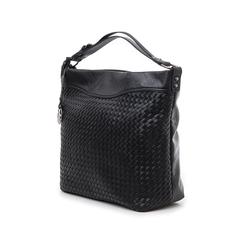 Hobo bag nera in eco-pelle intrecciata, Borse, 145700319EINEROUNI, 004 preview