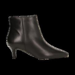 Tronchetti neri in vera pelle, tacco a rocchetto 6 cm, Primadonna, 12D618402VINERO, 001 preview