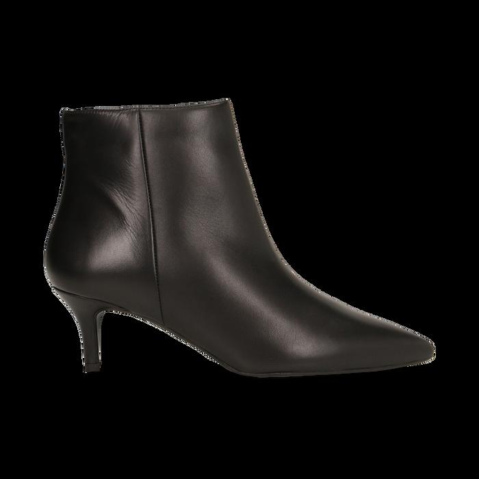 Tronchetti neri in vera pelle, tacco a rocchetto 6 cm, Primadonna, 12D618402VINERO