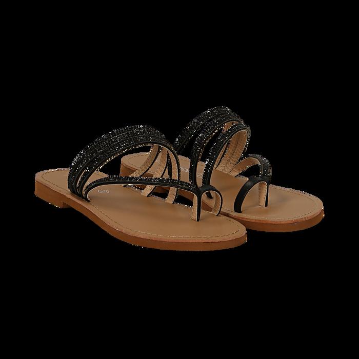 100% di alta qualità stati Uniti vendita outlet Sandali infradito con strass neri in eco-pelle