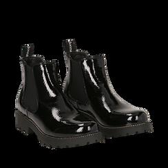 Chelsea boots neri in vernice, Stivaletti, 140608573VENERO035, 002a